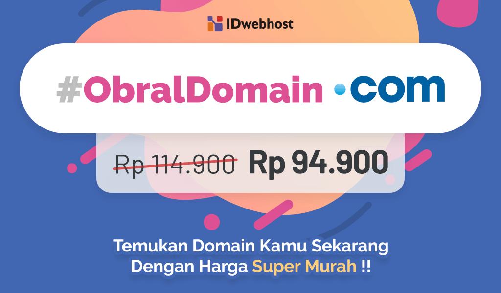 Obral Domain .COM 94.900 IDR Untuk Pengguna FB