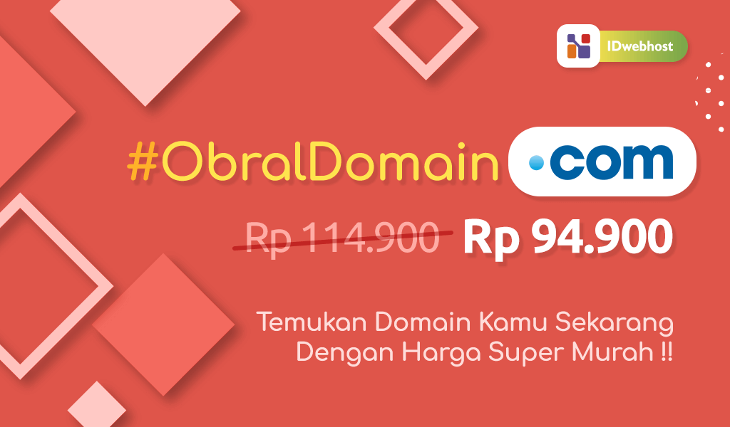IDwebhost Obral Domain .COM 94.900 IDR