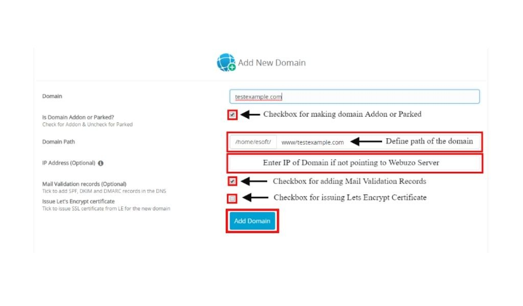 Cara membuat addon domain di Webuzo