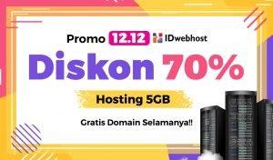 Harbolnas 12.12 2019! Diskon 70% Hosting 5GB