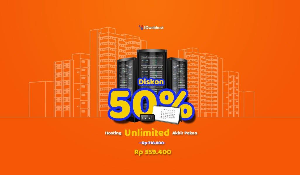 Diskon 50% Hosting Unlimited Paket Pupa