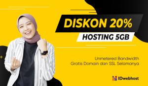 Diskon 20% Hosting 5GB