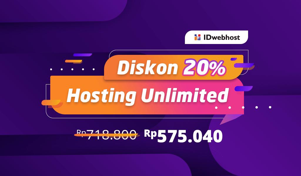 Diskon 20% Paket Unlimited Pupa