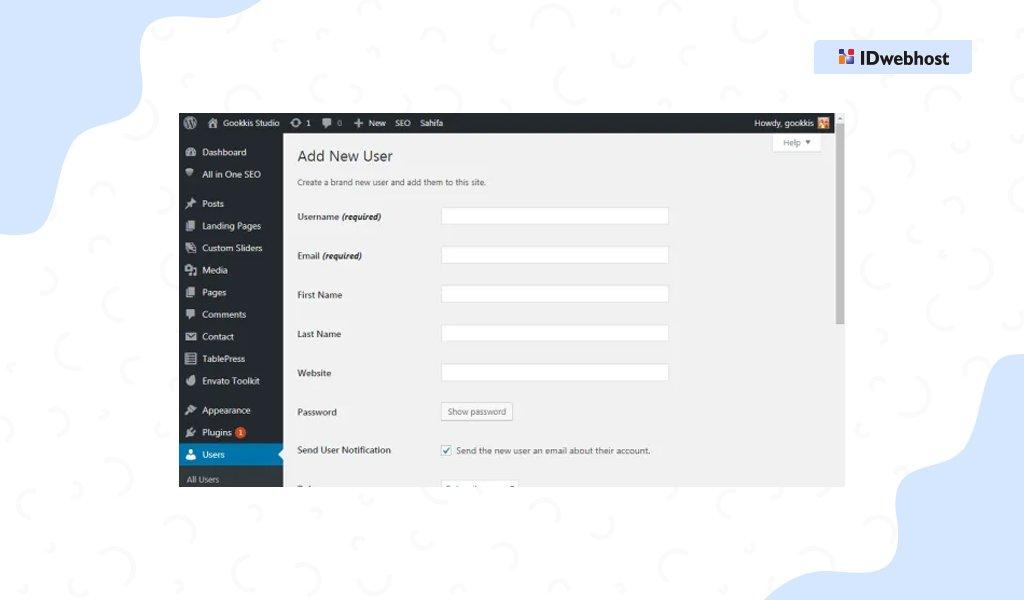 role user wordpress