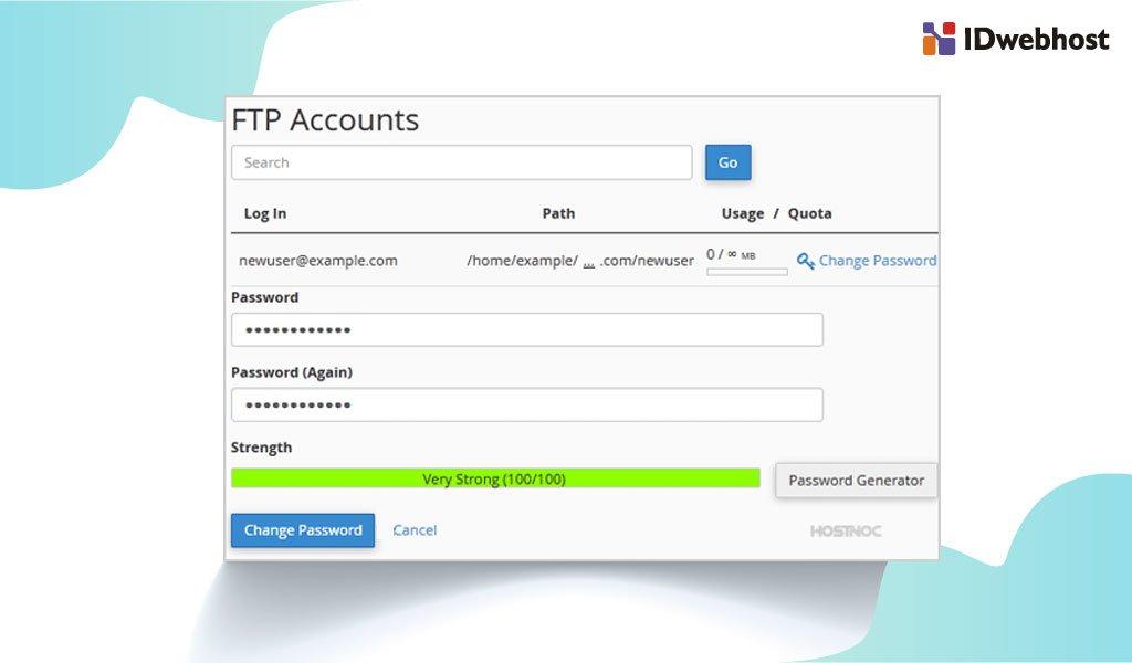 Cara Mengubah Password Akun FTP Pada cPanel