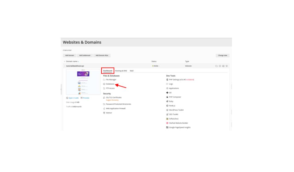 cara membuat database di Plesk
