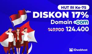 Promo Indonesia Maju, Diskon 17% Domain .COM