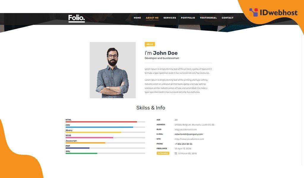 Single Page Folio