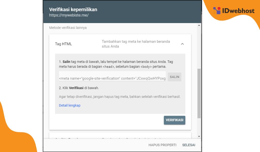 Halaman Verifikasi dan Kode Mendaftarkan Website Ke Google Webmaster