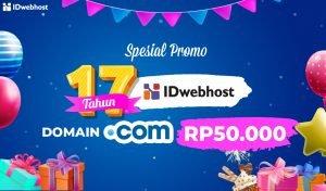 Promo Domain .COM Sweet Seventeen IDwebhost [Kuota Terpenuhi]