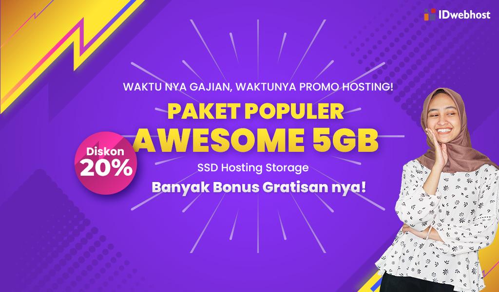Promo GAJIAN! SSD Hosting 5GB Diskon 20%
