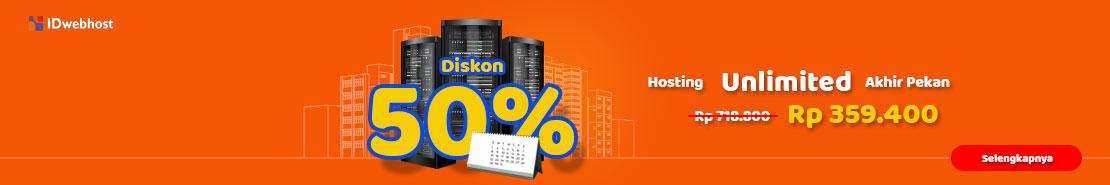 Promo - Diskon 50% Hosting Unlimited Paket Pupa