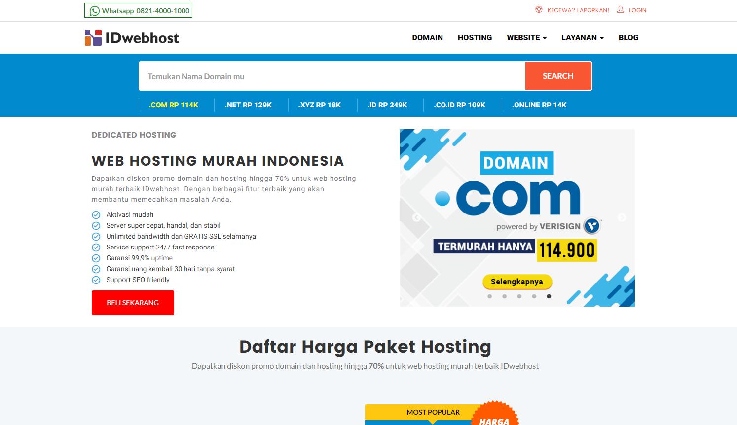 IDwebhost - halaman idwebhost