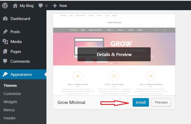 Install Dan Ubah Themes WordPress 2