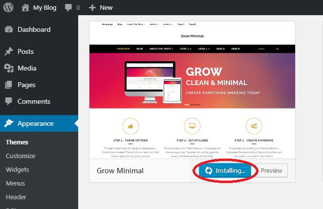 Install Dan Ubah Themes WordPress 3