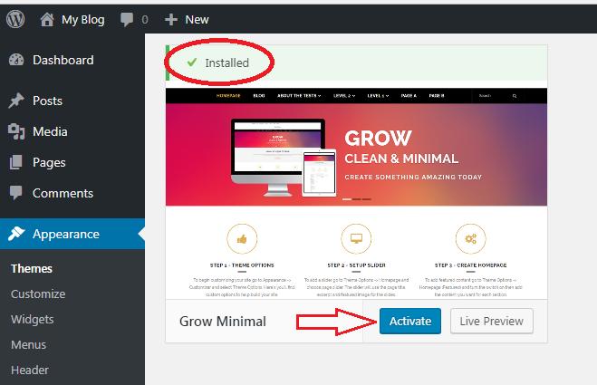 Install Dan Ubah Themes WordPress 4