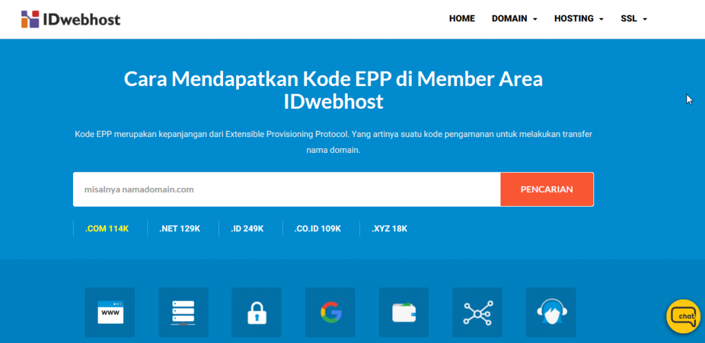 Cara Mendapatkan Kode EPP di Member Area IDwebhost