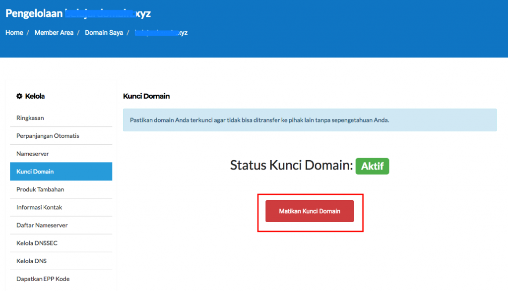 Cara melakukan setting Lock atau Unlock Domain 4