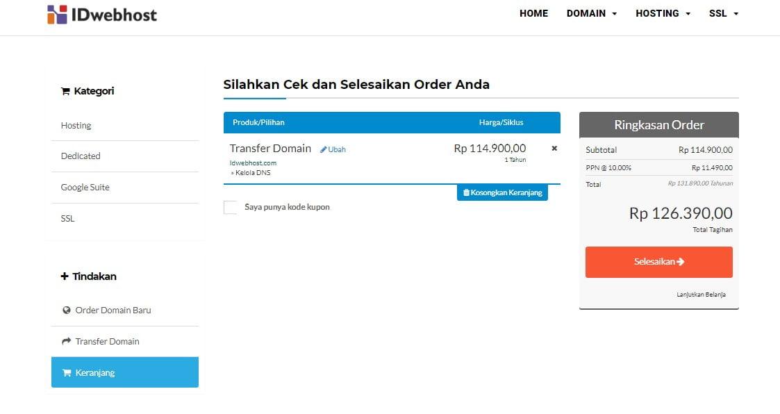 Cara Order / Proses Transfer Domain ke IDwebhost.com 6