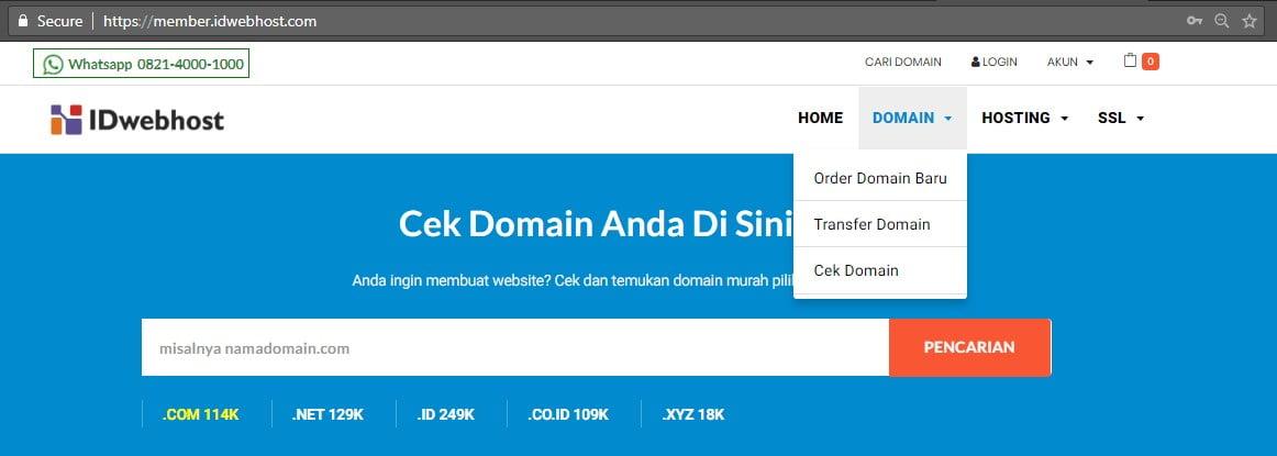 Cara Order / Proses Transfer Domain ke IDwebhost.com 2