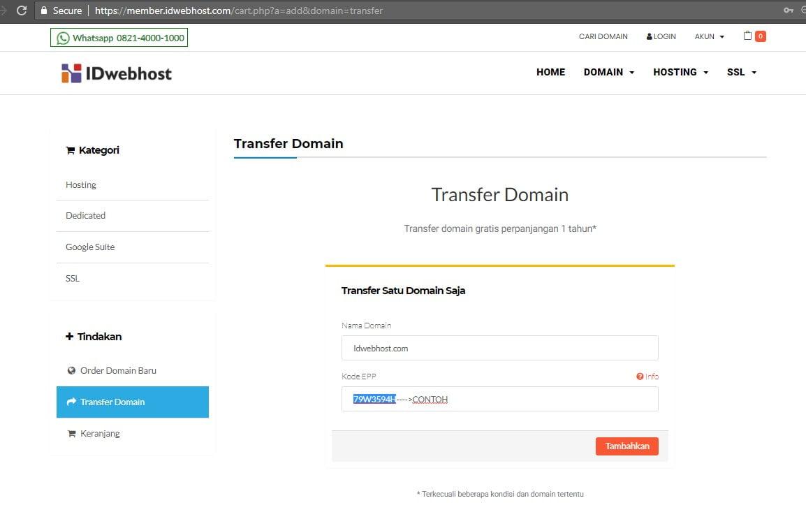 Cara Order / Proses Transfer Domain ke IDwebhost.com 4