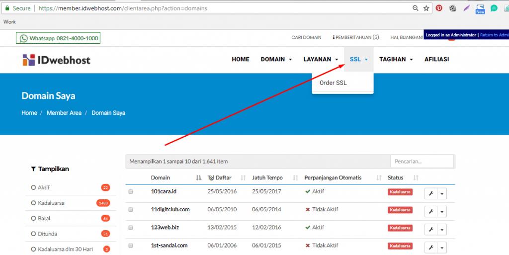 Cara Order SSL di IDwebhost 1