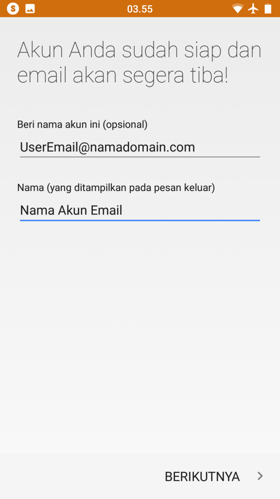 Setting Email Android 8