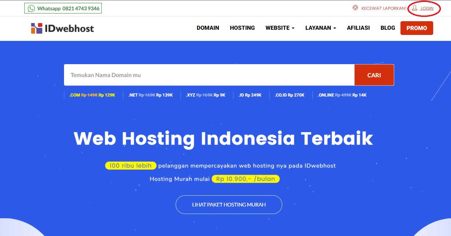 klik menu login