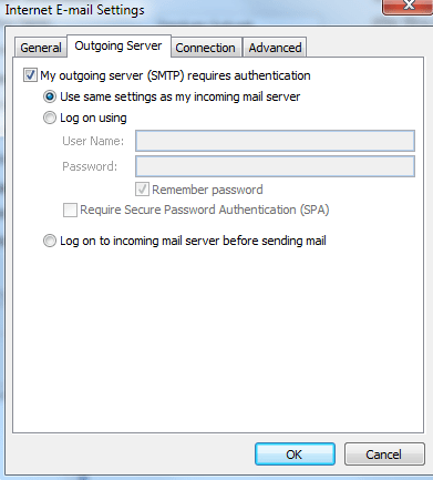 Seting Outlook 2007 bagian SMTP